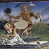 Palazzo schifanoia, salone dei mesi, 05 maggio (f. del cossa e aiuti), trionfo di apollo 02 1 - Sailko
