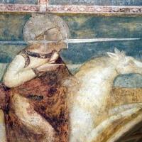 Scuola bolognese, ciclo dell'abbazia di pomposa, 1350 ca., apocalisse, 17 anbgeli e cavaliere bianco 3 spada in bocca by Sailko