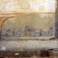Pomposa, abbazia, interno, profeti e pontefici dell'XI secolo sotto gli affreschi trecenteschi 03 uccelli foto di Sailko