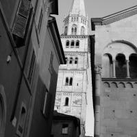 Torre Ghirlandina di Modena bianco e nero