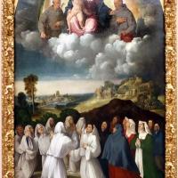 Bottega di dosso e battista dossi, apparizione della madonna col bambino tra i ss. francesco e bernardino ai confratelli della neve, 1530-40 ca. 01