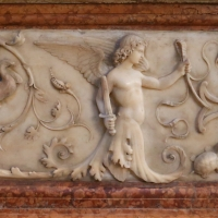 Bartolomeo spani, monumento funebre di francesco molza, 1516, 02 girali con angelo armato di spada