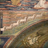 Sant'apollinare in classe, mosaici dell'arcone, 12 agnelli che escono da gerusalemme e betlemme (VII sec.) 10 Foto(s) von Sailko