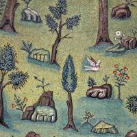 Sant'apollinare in classe, mosaici del catino, trasfigurazione simbolica, VI secolo, 10 giardino (con restauri) 1 by Sailko