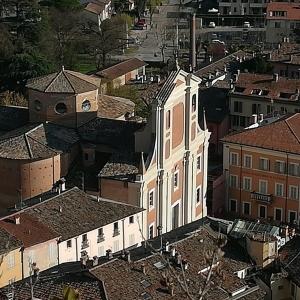 Collegiata dei Santi Michele e Giovanni Battista Brisighella vista aerea - anonimo